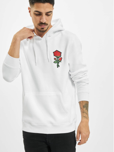 Mister Tee Hombres Sudadera Embroidered Rose in blanco