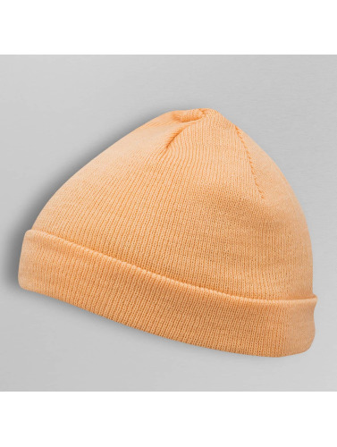 MSTRDS Beanie Short Pastel Cuff Knit in orange