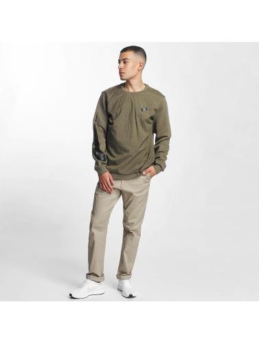 Nike Hombres Jersey Crew Fleece Hybrid in oliva