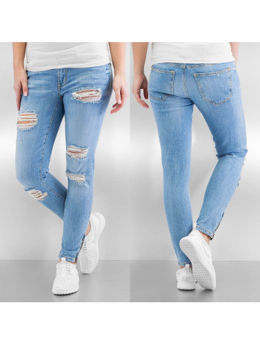 Noisy May Damen Skinny Jeans nmEve Super Low Super Slim Ancle Zip in blau