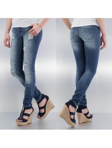 Noisy May Damen Skinny Jeans mEve Low Slim Rip Patch in blau