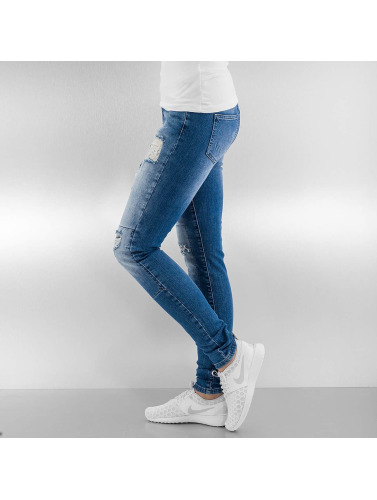 Noisy May Damen Skinny Jeans nmLucy Super Slim Rip Patch in blau
