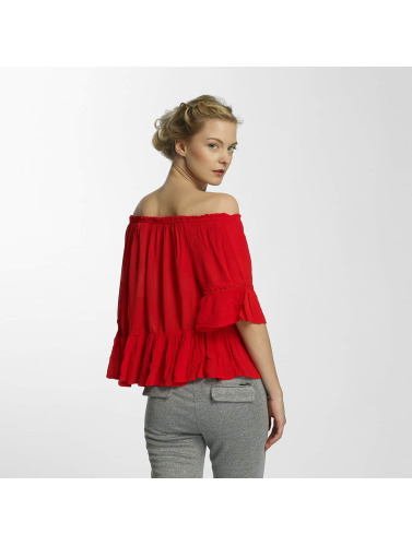 Only Damen Bluse onlBingo Off Shoulder Peplum in rot