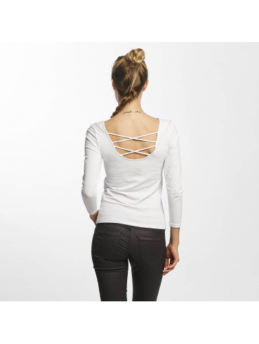 Only Mujeres Camiseta de manga larga onlLive Love 7/8 Lace Up in blanco