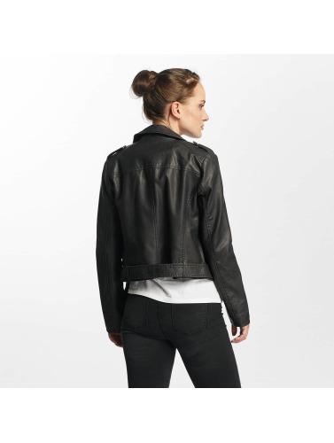 Only Damen Übergangsjacke onlLuna Crop Faux Leather Biker in schwarz