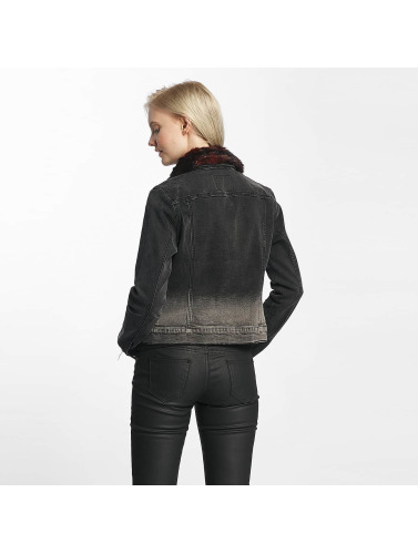 Only Damen Übergangsjacke onlChris Fur Collar Denim in schwarz