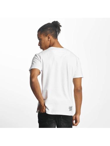 Paris Premium Hombres Camiseta Rockin Skull in blanco