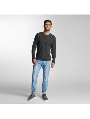 Paris Premium Hombres Camiseta de manga larga Basic Longsleeve in gris