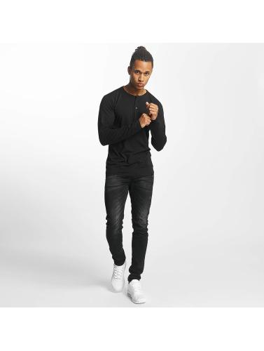 Paris Premium Herren Longsleeve Basic in schwarz
