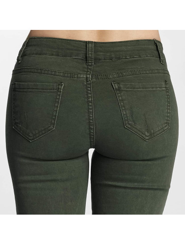 Paris Premium Damen Skinny Jeans Denim in olive