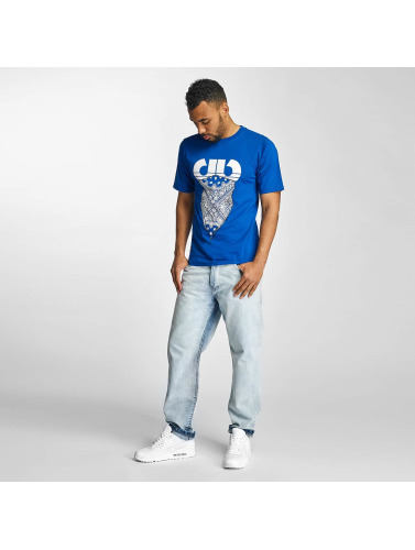 Pelle Pelle Hombres Camiseta Stick Up Icon in azul