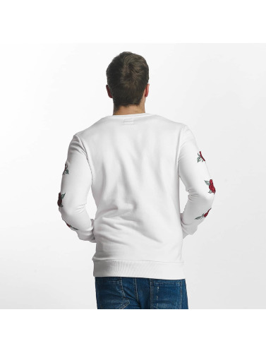 Red Bridge Herren Pullover Red Rose Flower in weiß