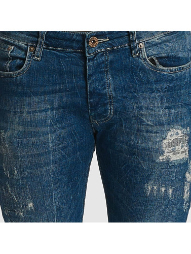 Red Bridge Herren Slim Fit Jeans Inside Out Destroyed in blau