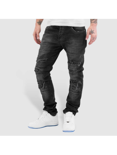 Red Bridge Herren Straight Fit Jeans Destroyed in schwarz