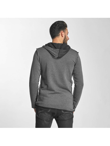 Red Bridge Herren Strickjacke Asymmetrical Mesh in grau