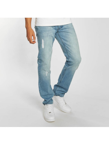 Rocawear Herren Straight Fit Jeans Moletro Leather Patch in blau