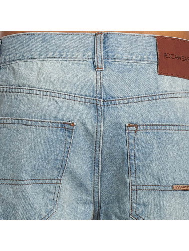 Leather rectos Hombres azul Moletro Vaqueros in Rocawear Patch wgPx4w