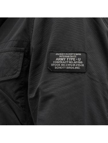 Schott NYC Hombres Chaqueta de entretiempo Field Rickson in negro