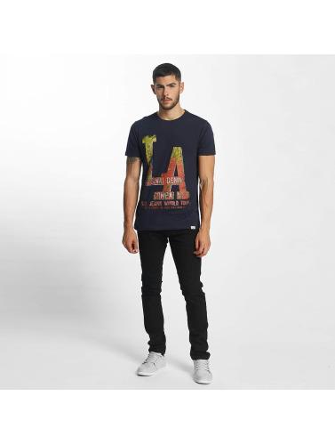 SHINE Original Hombres Camiseta Denim City Print in azul