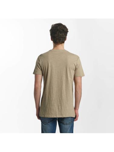 SHINE Original Hombres Camiseta Collin Denim Rebel Print in marrón