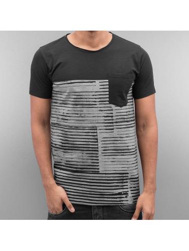 SHINE Original Hombres Camiseta Stripes in negro