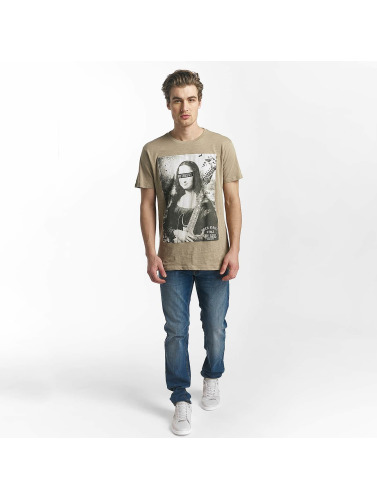 SHINE Original Herren T-Shirt Collin Denim Rebel Print in braun