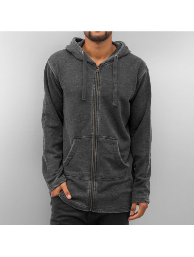 SHINE Original Herren Zip Hoodie Long Worn Out Special in schwarz