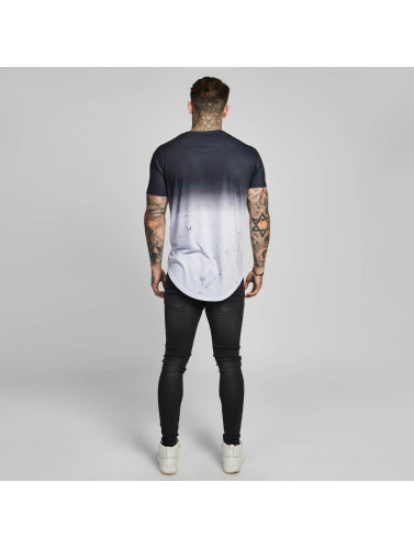 Sik Silk Hombres Camiseta Marble Fade Curved Hem in negro