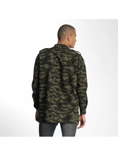 Sixth June Hombres Camisa Oversized Destroyed in camuflaje