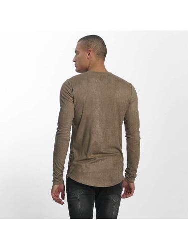 Sixth June Hombres Camiseta de manga larga Skinny Basic in caqui