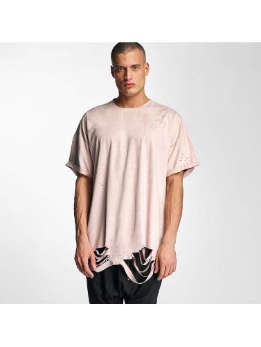 Sixth June Hombres Camiseta Destroyed Overside Suede in rosa