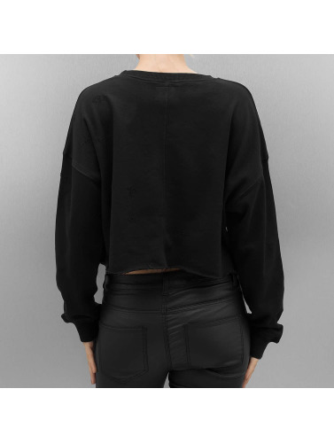 Sixth June Mujeres Jersey Destroyed Cropped in negro
