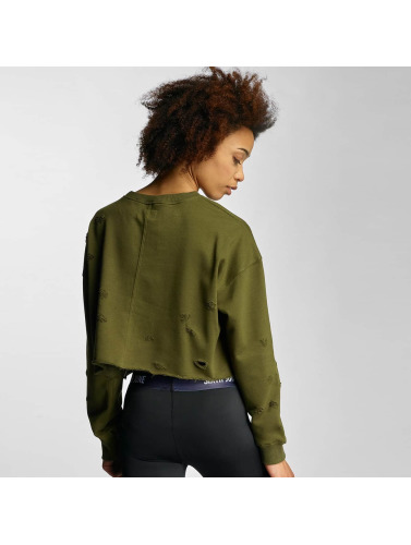 Sixth June Damen Pullover Destroyed Cropped in khaki