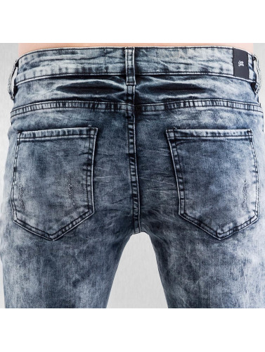 Sixth June Herren Skinny Jeans Destroyed Biker in blau