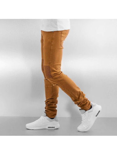 Sixth June Herren Skinny Jeans Radge Biker in braun