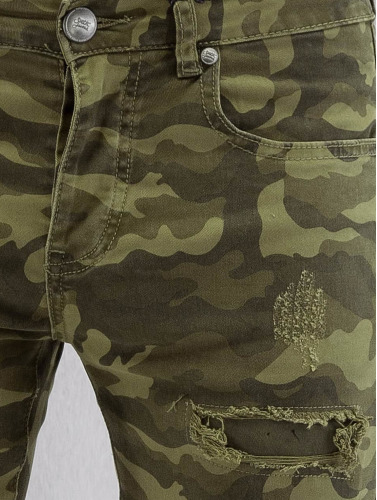 Sixth June Herren Skinny Jeans Destroyed Camou in camouflage