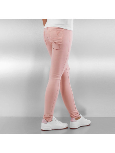 Sixth June Damen Skinny Jeans Destroyed in rosa