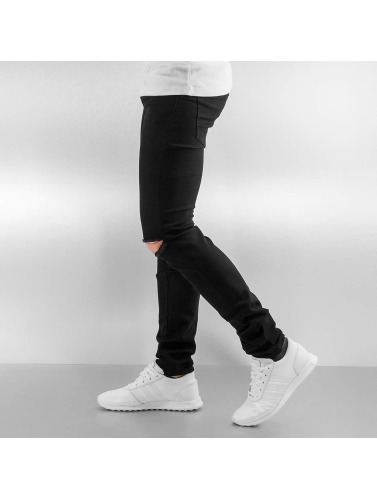 Sixth June Herren Skinny Jeans Opened On Knee in schwarz