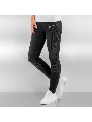Sixth June Damen Skinny Jeans Biker in schwarz