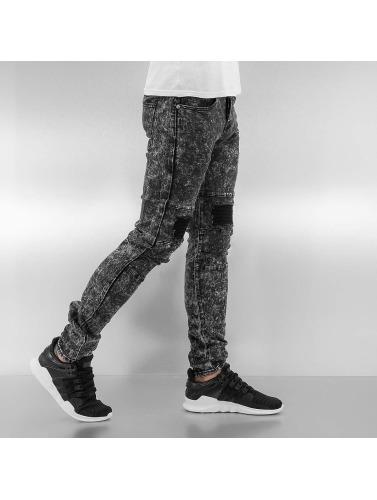 Sixth June Herren Skinny Jeans Destroyed KneeCut Biker in schwarz