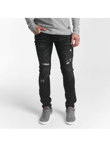 Sixth June Herren Skinny Jeans Destroyed in schwarz
