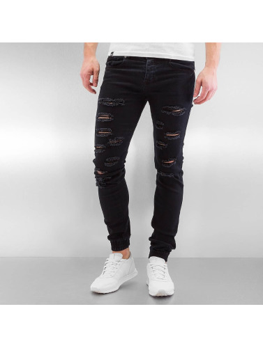 Sixth June Herren Slim Fit Jeans Destroyed in schwarz