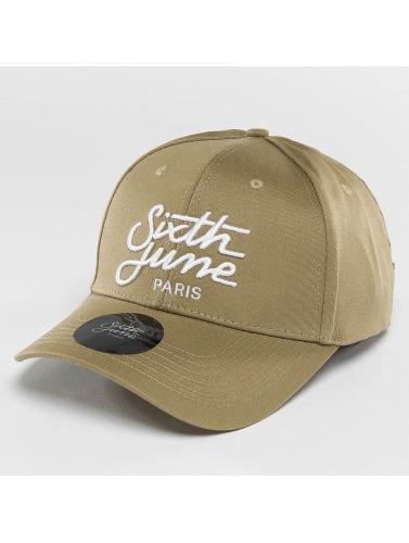 Sixth June Snapback Cap Curved Logo in beige
