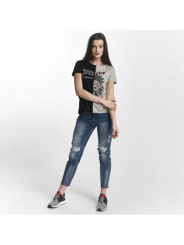 Sixth June Damen T-Shirt Two Tone in schwarz