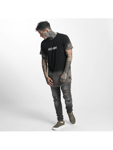 Sixth June Herren Tall Tees Bleach Washed Logo in schwarz