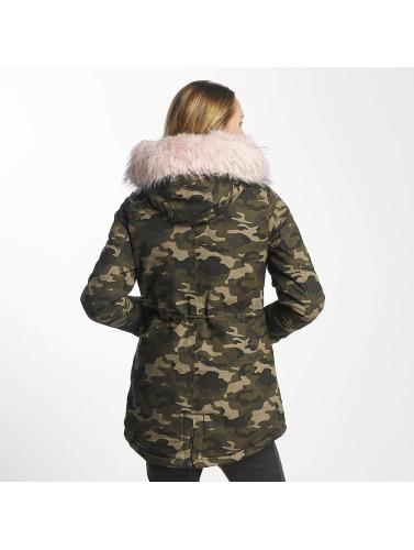Sixth June Damen Winterjacke Oversize With Fake Fur Hood in camouflage