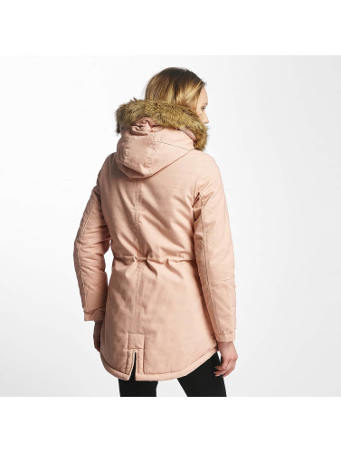 Sixth June Damen Winterjacke Oversize With Fake Fur Hood Classic in rosa