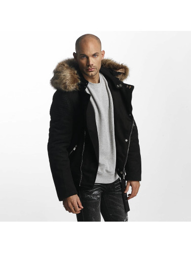 Sixth June Herren Winterjacke Puffa Perfecto With Biker Yoke in schwarz