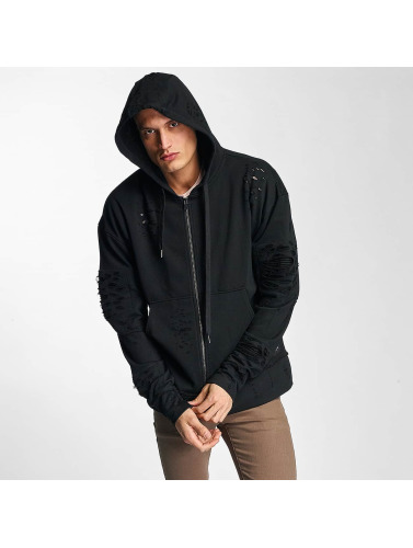 Sixth June Herren Zip Hoodie Destroyed Zip Up in schwarz