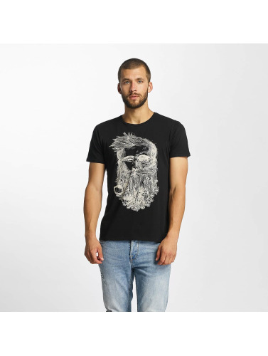 Solid Hombres Camiseta Javin in negro